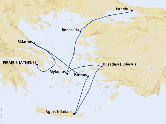 7-night Classic Greek Isles and Ephesus Cruise Map