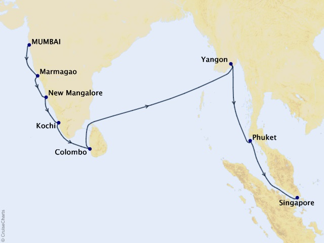18-night Indian Ocean Cruise Map