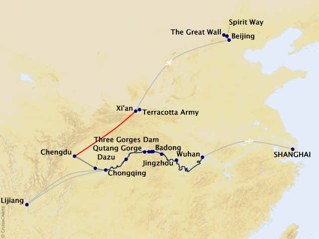 18-night Undiscovered China Cruise/Land Package Map