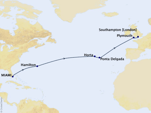 15-night Atlantic Pursuit Voyage Map