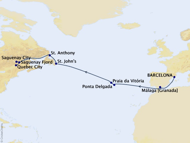 13-night Trans-Atlantic Discovery Cruise Map