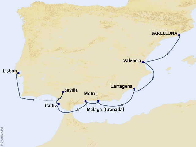 10-night Spanish Intensive Voyage Map