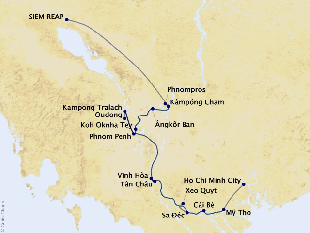 7-night Riches of the Mekong Cruise Map