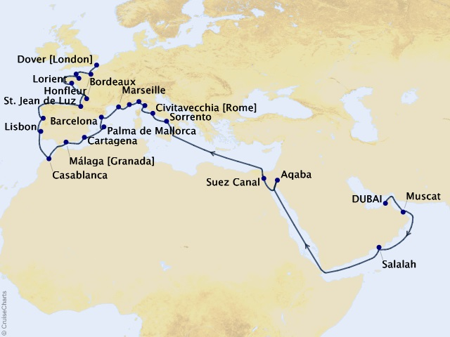 42-night European Elegance Cruise Map