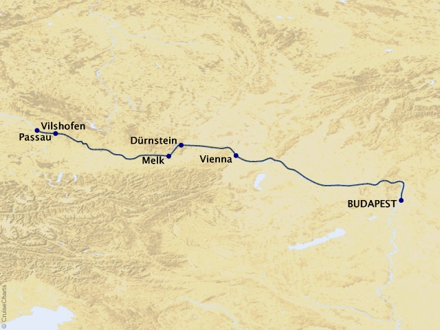 7-night Delightful Danube River Cruise Map