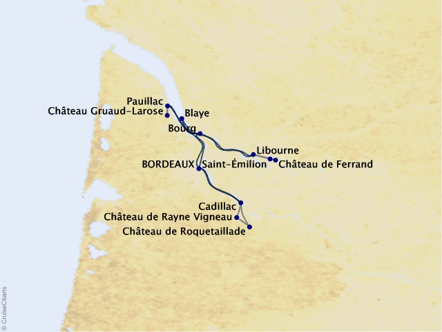 7-night Taste of Bordeaux Cruise Map