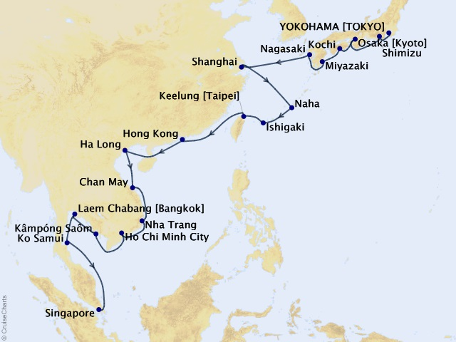 30-night Japanese Wonders & Local Flavors Cruise Itinerary Map