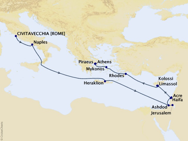 14-night Cities of Antiquity and the Holy Land Cruise Map