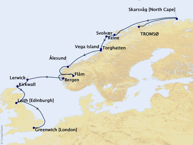 13-night Norwegian Fjords & Scottish Isles Exploration Expedition Itinerary Map