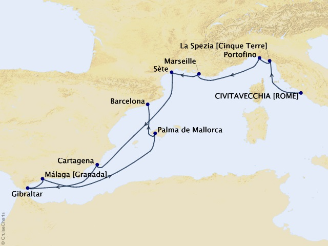 11-night Italy, France, & Spain Cruise Itinerary Map