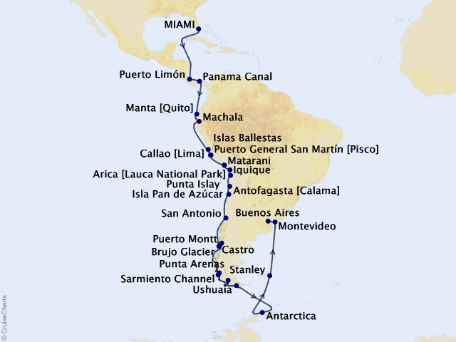 43-night The Americas and Antarctica Cruise
