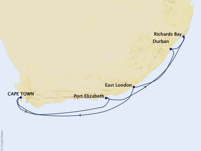 10-night South Africa Intensive Voyage Map