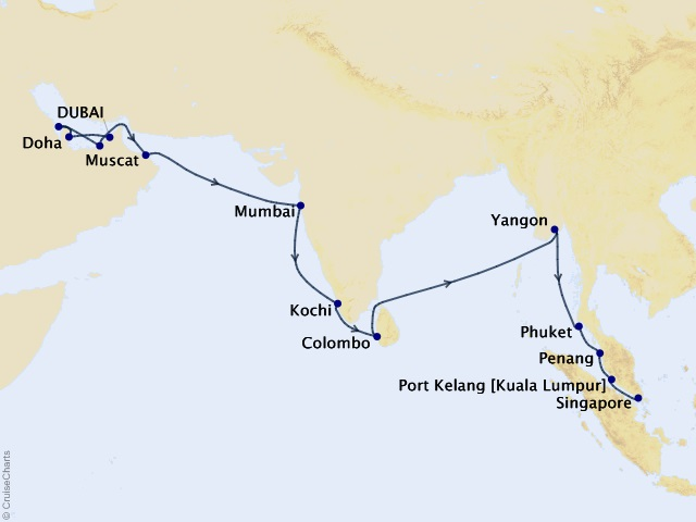 29-night Eastern Tapestries Cruise Map