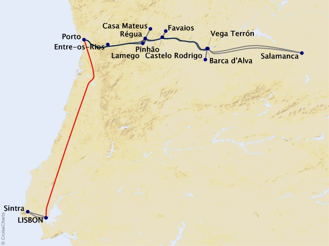 10-night Enticing Douro Cruise/Land Package Map