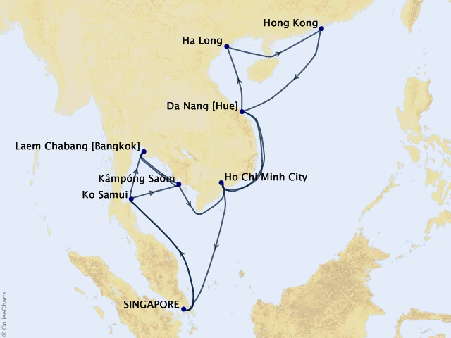 30-night Grand Far East Celebration Cruise Map