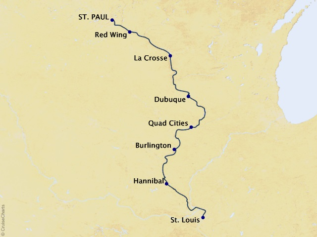 7-night America's Heartland River Cruise Itinerary Map