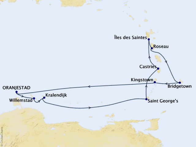 10-night Southern Caribbean Gems Voyage Map