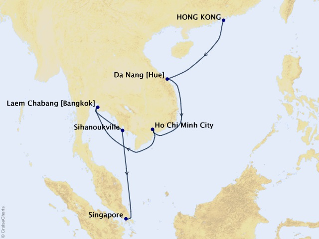 13-night Southeast Asia Soirée Cruise Map