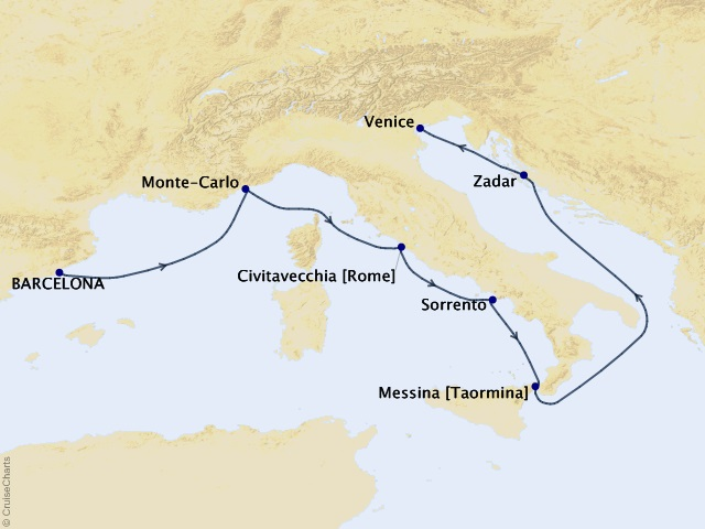 7-night Ode to Italia Cruise Map