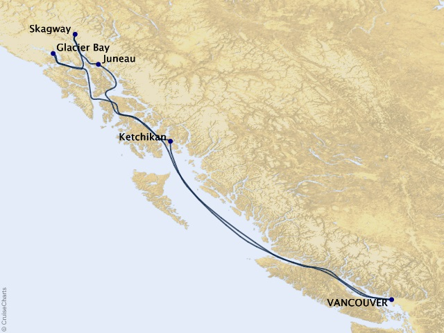 7-night Alaska Adventures Cruise Map