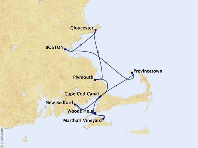 7-night Cape Codder Cruise Map