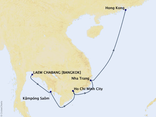 8-night Charms of Southeast Asia Cruise Itinerary Map