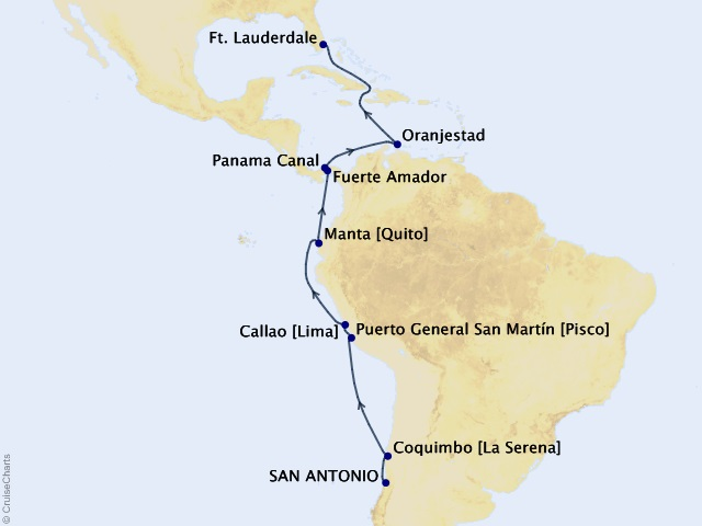 17-night Inca and Panama Canal Discovery Cruise Itinerary Map
