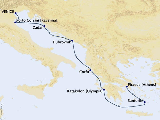 7-night Adriatic Passage Voyage Map