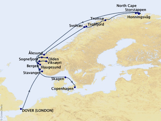 15-night Scenic Fjords and North Cape Cruise Map