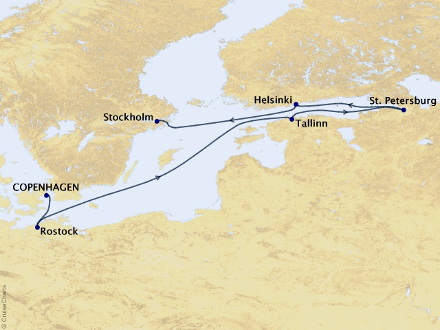 7-night The Fine Art of Europe Cruise Map