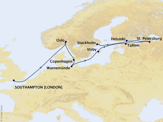 10-night Baltic Bliss Voyage Map