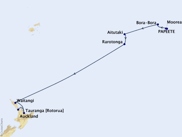 Tahiti and the Cook Islands Cruise Map