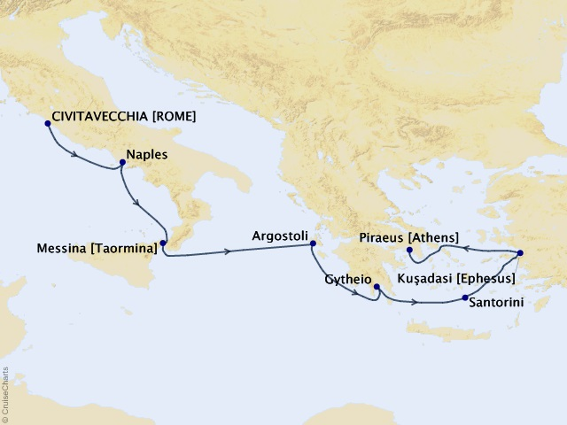 7-night Coastlines & Colonnades Voyage Map