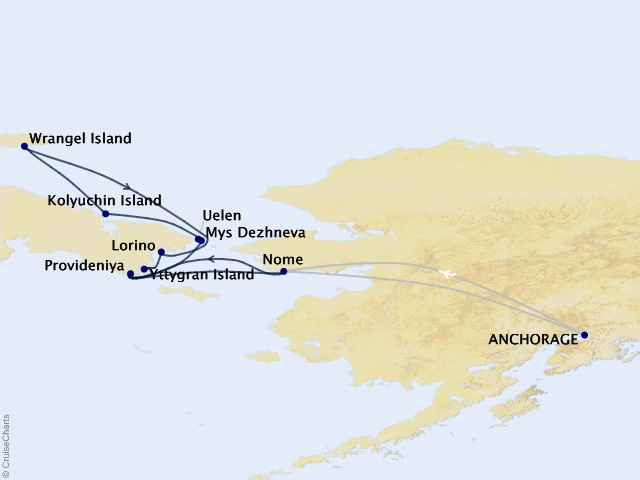 12-night Exploring Russia's Far East & Wrangel Island Cruise Map