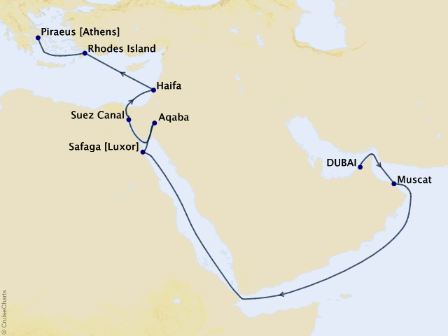 16-night Middle East and Holy Land Cruise Map