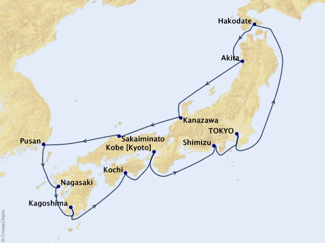 14-night Circle Japan Intensive Voyage Map