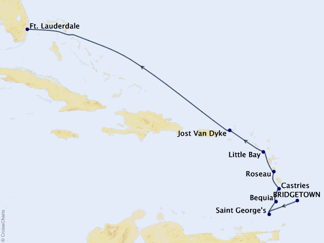 9-night Eastern and Southern Caribbean Cruise Map