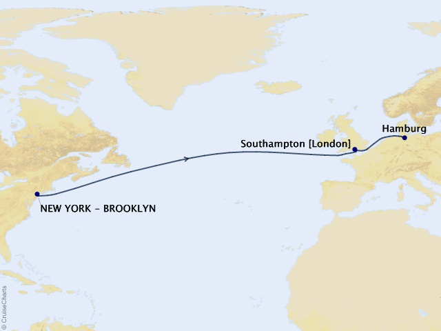 9-night Eastbound Transatlantic Crossing to Hamburg Cruise Map