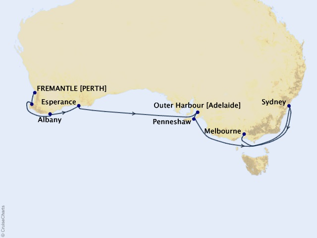 14-night Australia Intensive Voyage Map