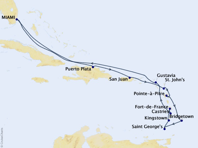 14-night Caribbean Charms Voyage Map