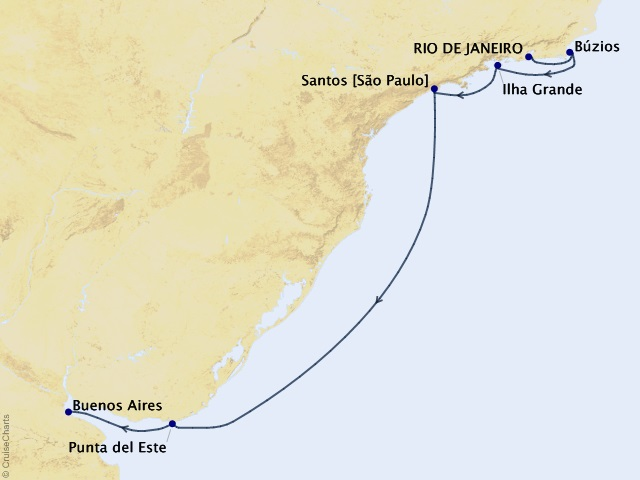 7-night South America from Rio de Janeiro to Buenos Aires – Santos and Búzios Cruise Itinerary Map