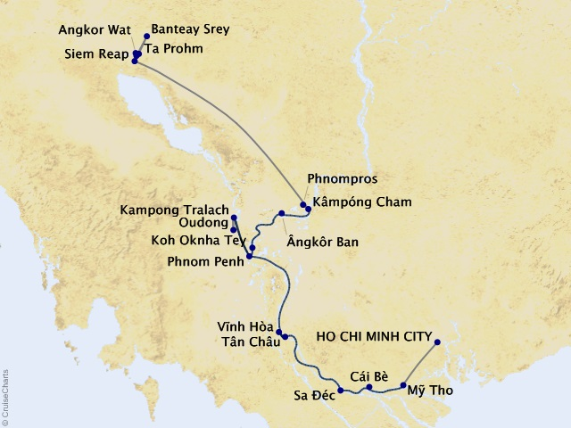 9-night Charms of the Mekong Cruise/Land Package Map