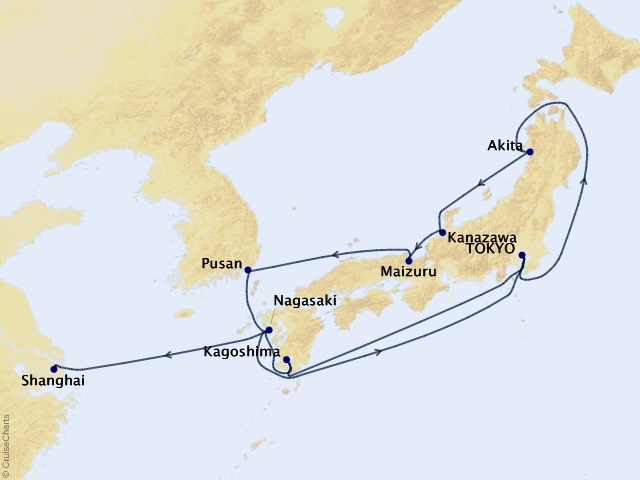 15-night Japan Cruise Map