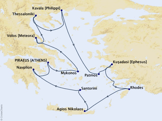 12-night Greece Intensive Voyage Itinerary Map