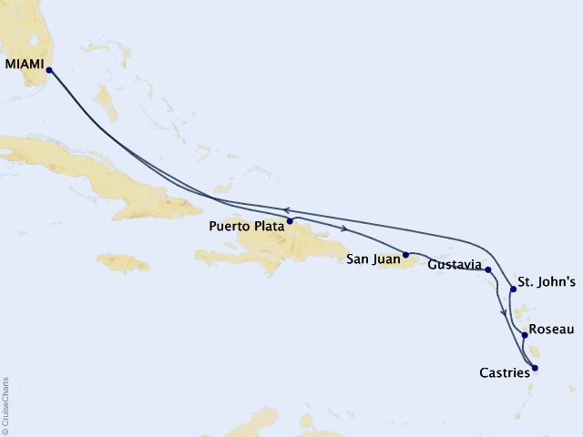10-night Sunsets & Salsa Dancing Cruise Map