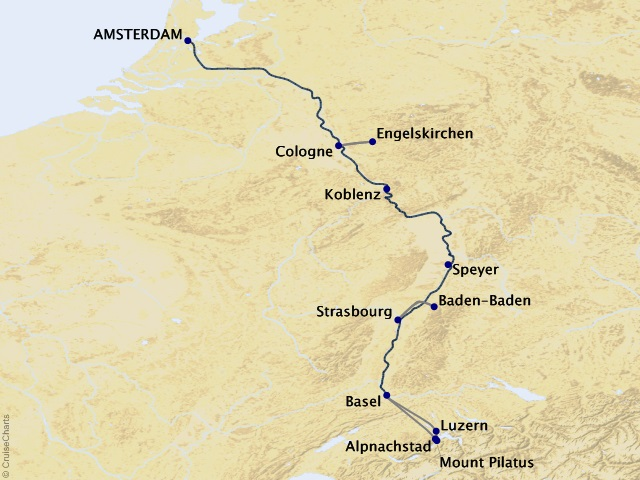 7-night The Romantic Rhine: Amsterdam to Basel – Southbound Cruise Map