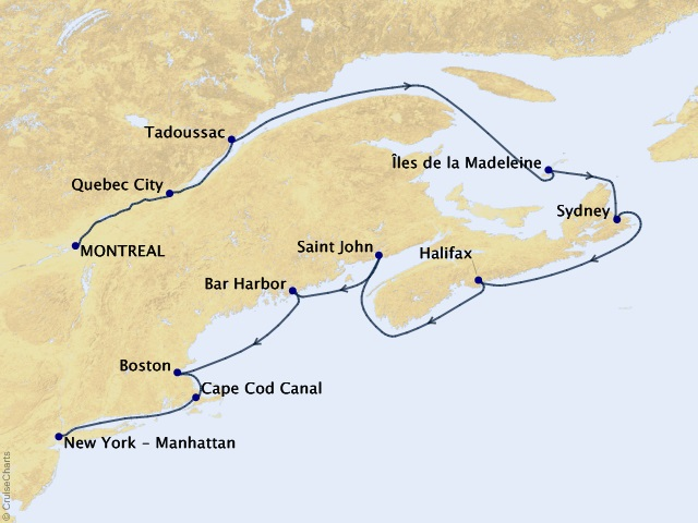 11-night Canada and New England Cruise Map