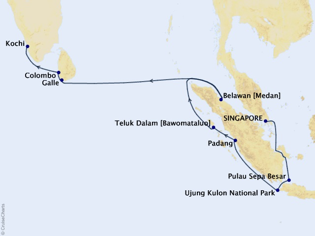16-night Asia and India Cruise Map