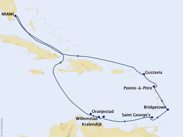 12-night Bays to Beaches Voyage Map