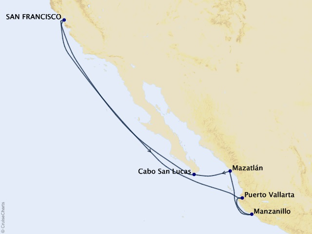10-night Mexican Riviera Cruise Itinerary Map